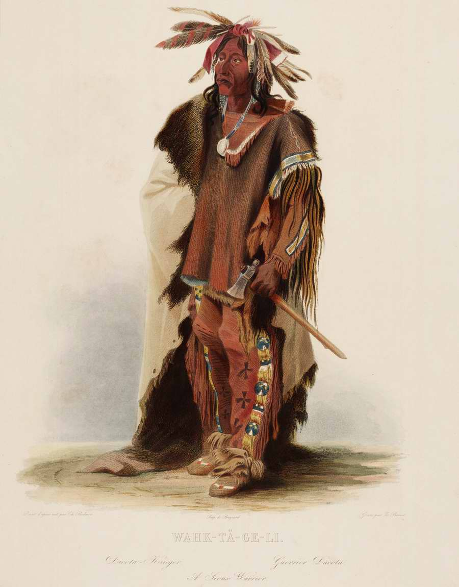 Индейский воин из племени сиу - Karl Bodmer