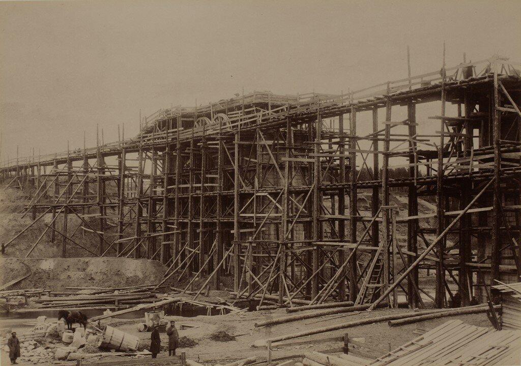 Железнодорожный мост через Рауну, строительство быков