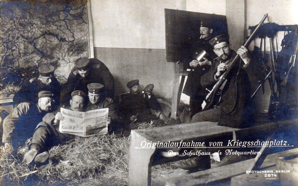Originalaufnahme vom Kriegsschauplatz, Das schulhaus als Notquartier