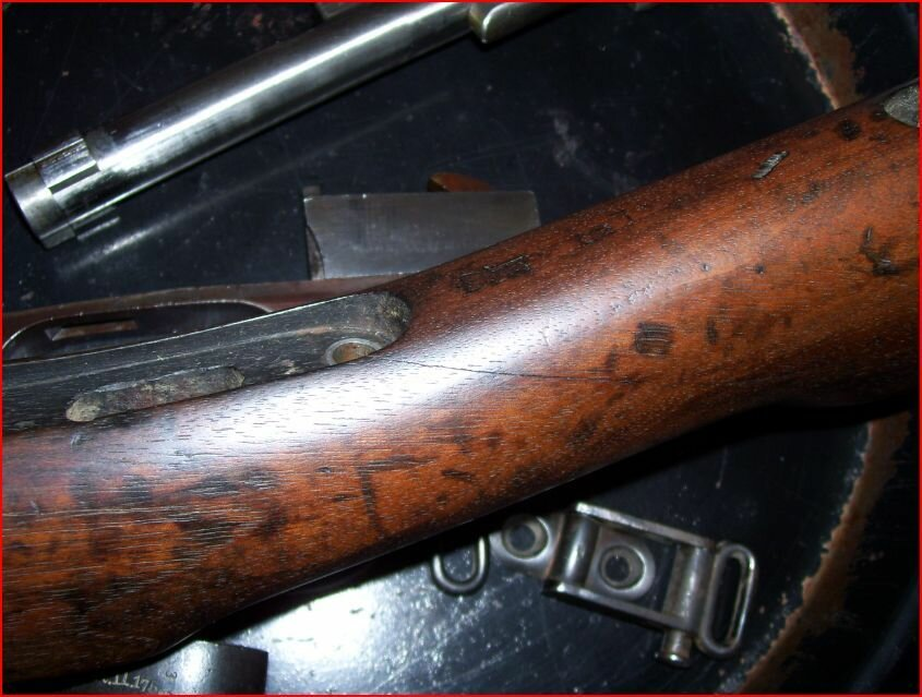 1891 Ludwig Loewe model 1888 German Commission Rifle -- original superficial crack before repair