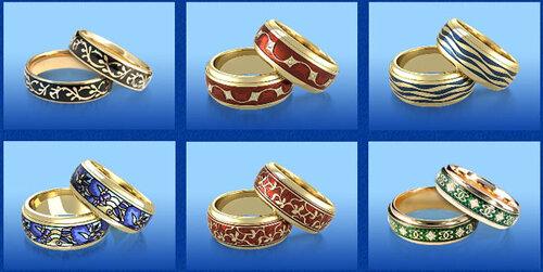золотые кольца с эмалью