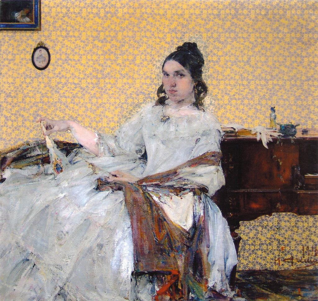Портрет Н.М.Сапожниковой (на фоне обоев) (1916).jpg