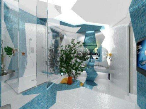 Оформление ванной комнаты в контрастных тонах