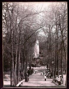 Отдыхающие на аллее в городском общественном саду;на втором плане - фонтан.