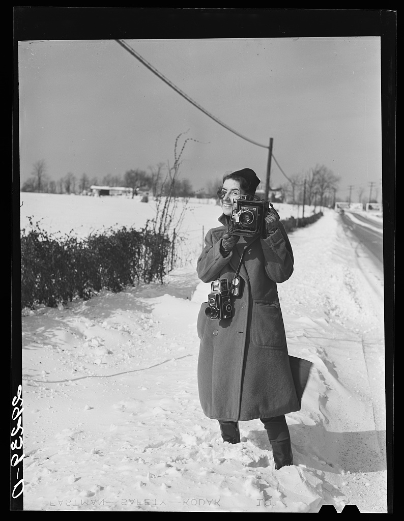 Photographer Marion Post Wolcott by Arthur Rothstein, Montgomery County, Maryland '1940