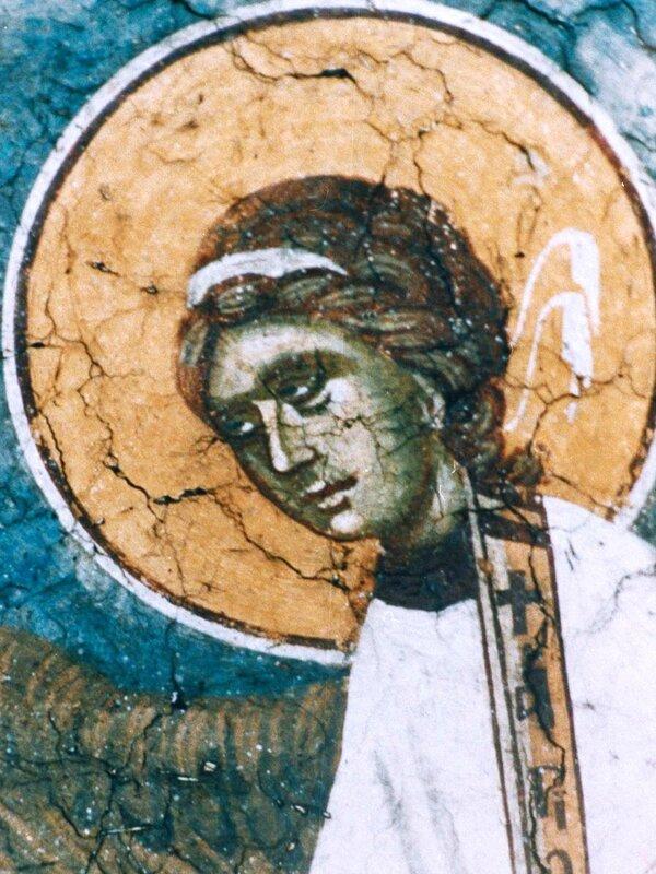 Небесная Литургия. Фреска монастыря Грачаница, Косово, Сербия. Около 1321 года. Фрагмент.