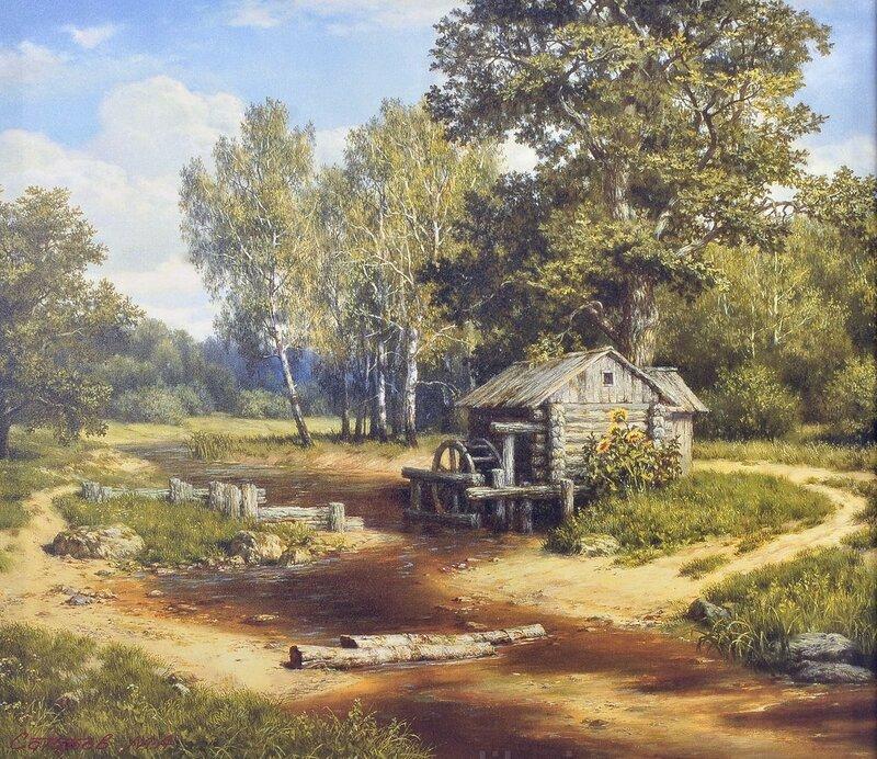 Пролетело лето, наступает осень, солнце золотит листву берез. Михаил Алексеевич Сатаров