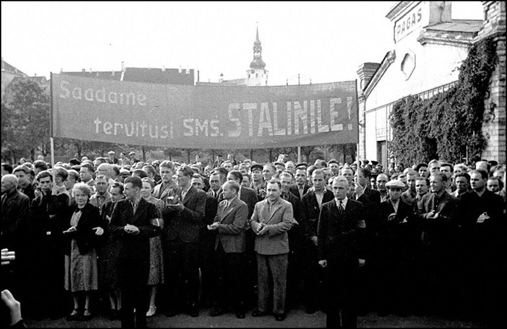 Встреча делегации Государственной Думы Эстонии в Таллине после принятия Эстонии в состав СССР. Таллинн. Август 1940 г.