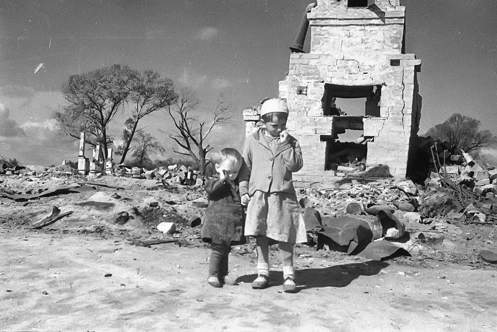 Дети освобожденного города Жиздра — Рая и Гена Щегловы. Калужская область. Август 1943 г.