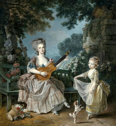 Attributed to Louis Rolland Trinquesse (French, 1746-1800) A Lady playing Guitar and a Child playing with a Dog in a Garden.