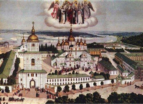 Панорама Михайловского Златоверхого монастыря. Хромолитография 1911 год