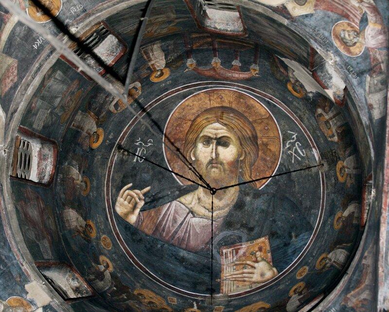 Христос Пантократор и Небесная Литургия. Фреска монастыря Грачаница, Косово, Сербия. Около 1321 года.