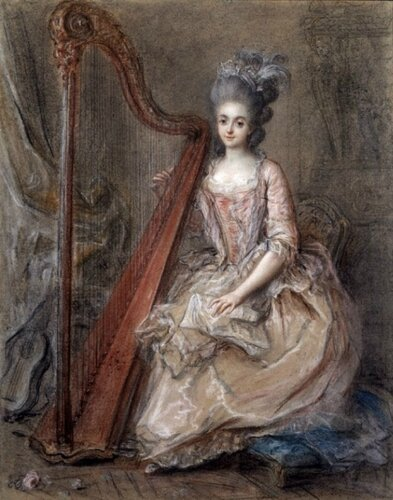 Francois Guerin (French) Mme. de Genlis playing a Harp. 1791