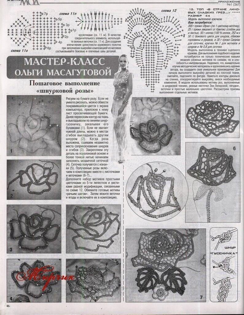 Пошаговое выполнение шнурковой розы