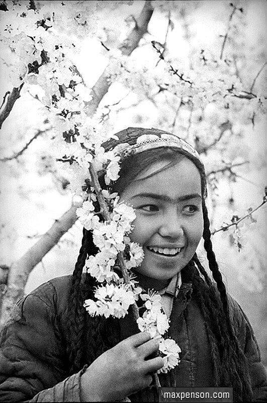 Девушка узбечка у цветущего дерева