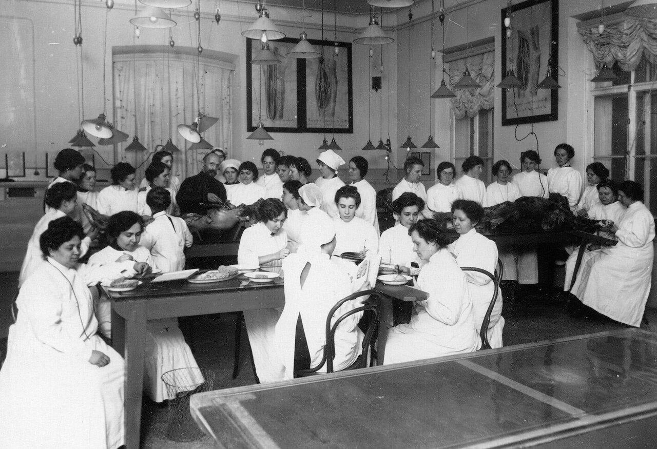 Студентки женского медицинского института в прозекторской