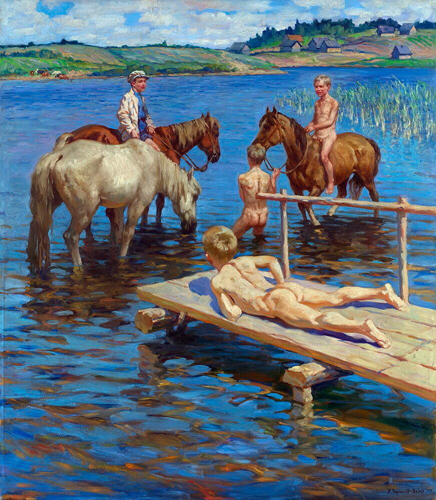 Купание коней 1939 холст, масло 143x125.5 ЧС.jpg