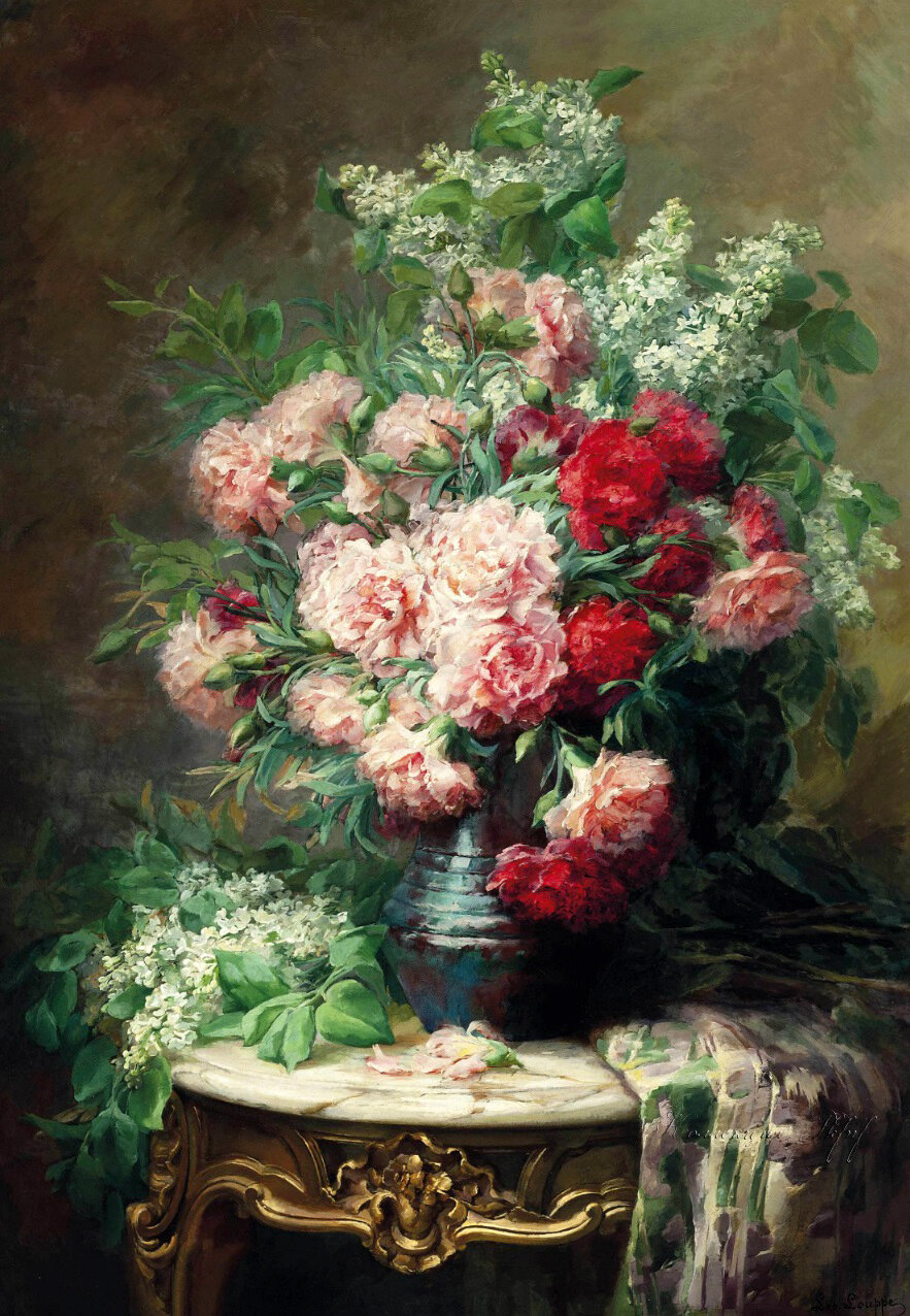 LÉO LOUPPE (FRENCH, B.1869)CHRYSANTHEMUMS AND LILACS IN A VASE ON A MARBLE TOPPED TABLE