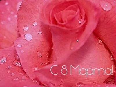 8 Марта, Роза с каплями росы открытка поздравление картинка