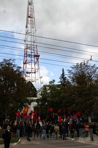 Протесты ПКРМ в Кишиневе — у национального телевидения