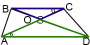подобные треугольники в трапеции при пересечении диагоналей