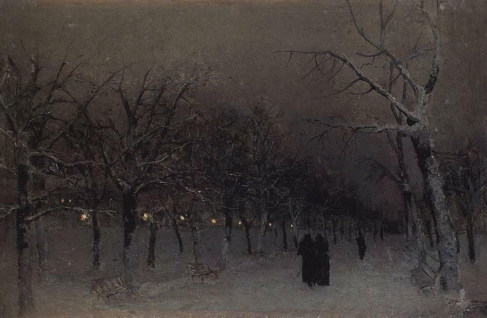 Бульвар зимой. Исаак Левитан, 1883 год.