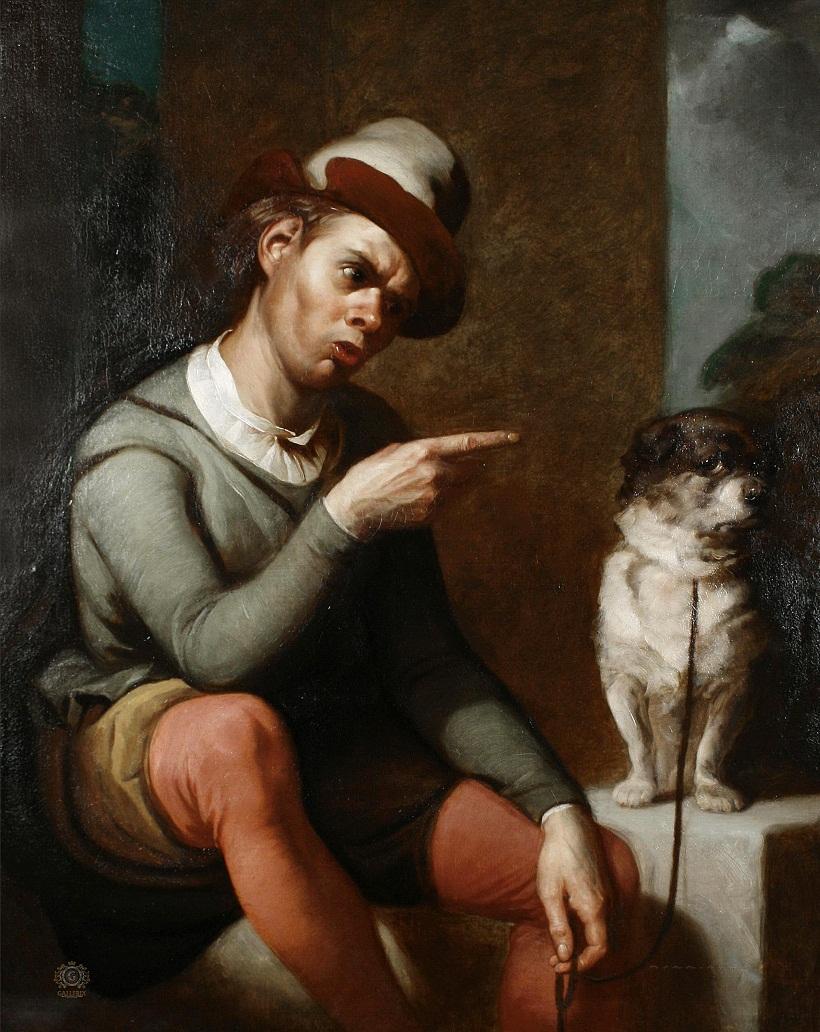 Шут Ланс и его собака Краб, по пьесе Шекспира «Два веронца»