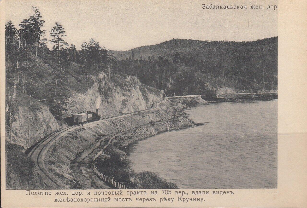 Полотно железной дороги и почтовый тракт на 705 версте железной дороги, вдали виден мост через реку Кручину