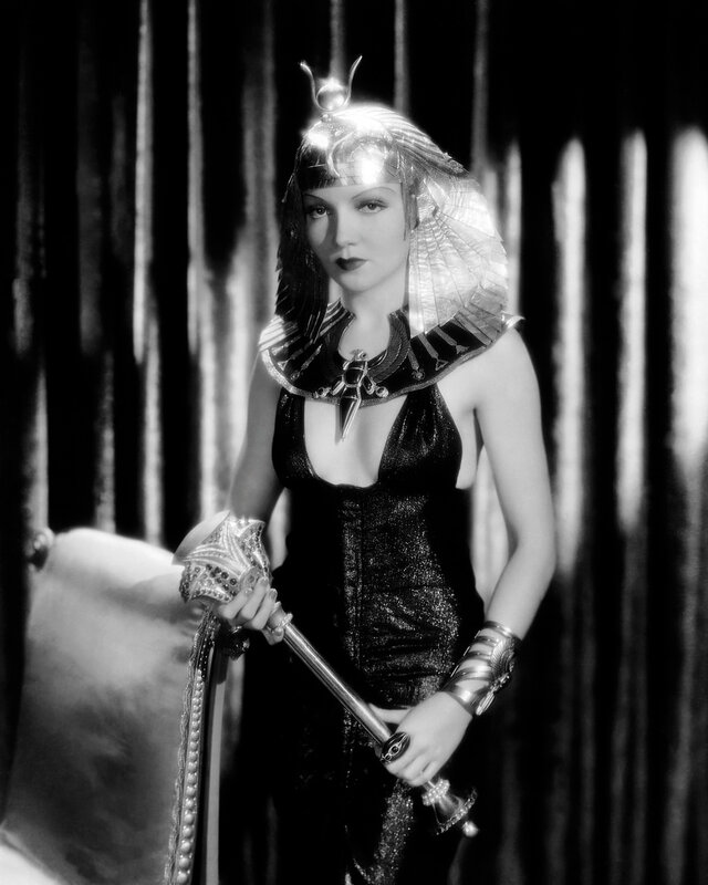 1934: Claudette Colbert (1903 - 1996) plays Egypt's most famous queen in the historical drama 'Cleopatra', directed by Cecil B DeMille.