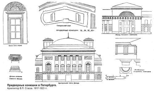 Придворные конюшни в Петербурге, чертежи