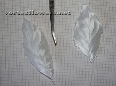 Гардения из ткани. Обработка деталей цветка горячим инструментом (буление).
