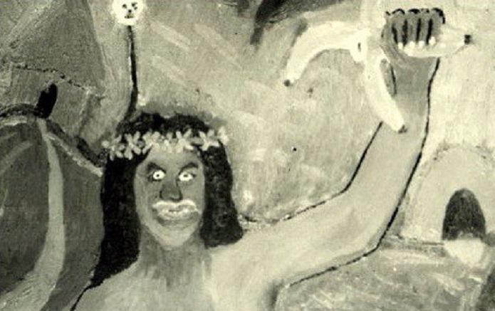 Смит сделал очень грубую картину дикарки с бананом в руках, хотя ничего не рисовал прежде. Он дал ка