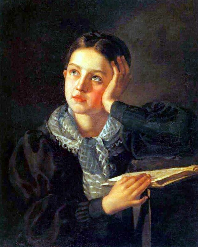 Девушка, опирающаяся на руку, Алексей Тыранов, живопись