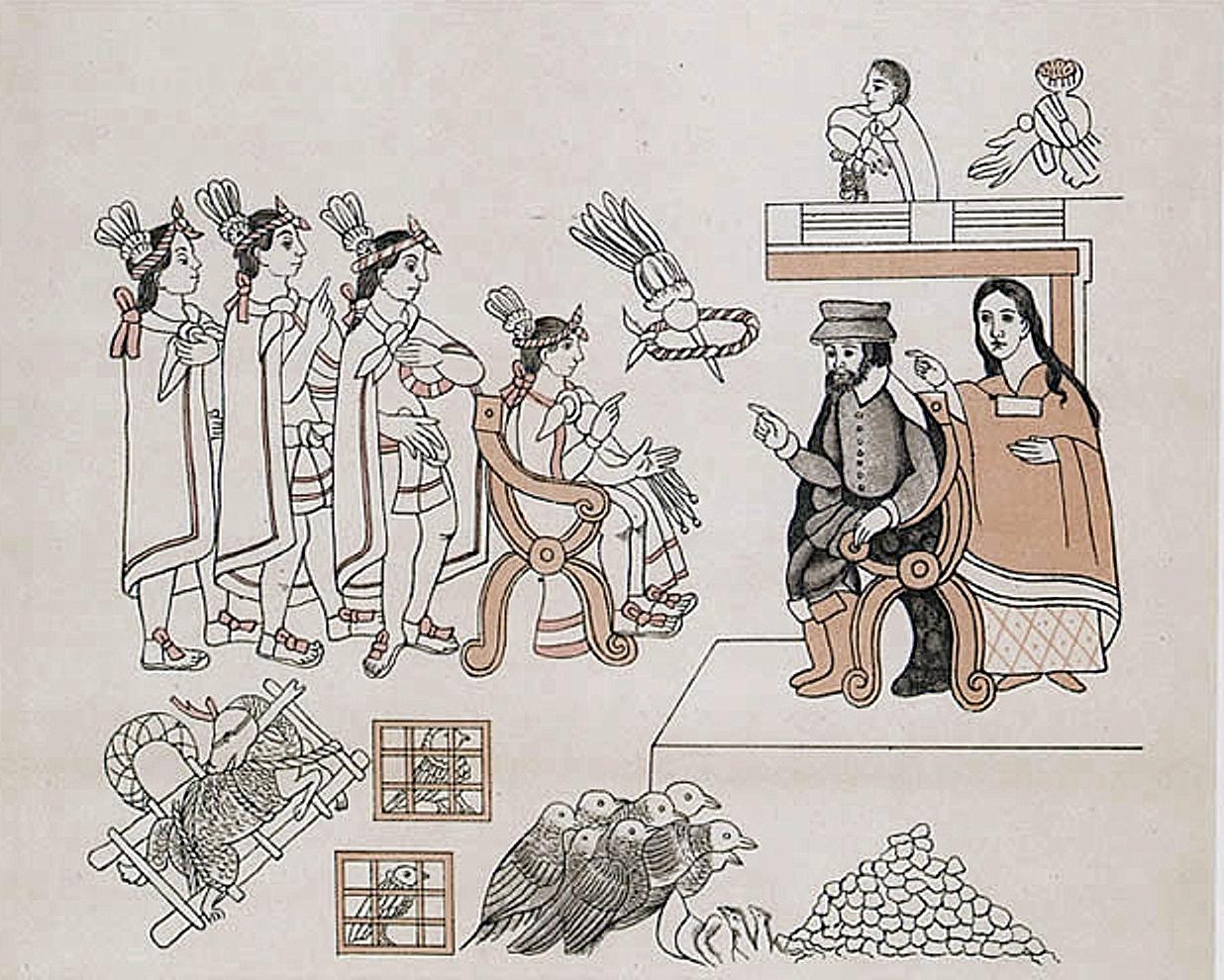 Встреча Кортеса и Монтесумы. Позади Кортеса его переводчица Малинче. .jpg