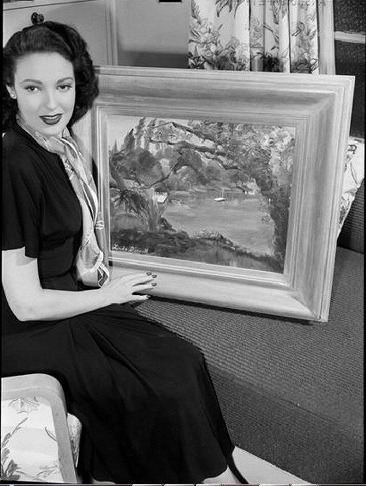 1948. Линда Дарнелл с ее картиной