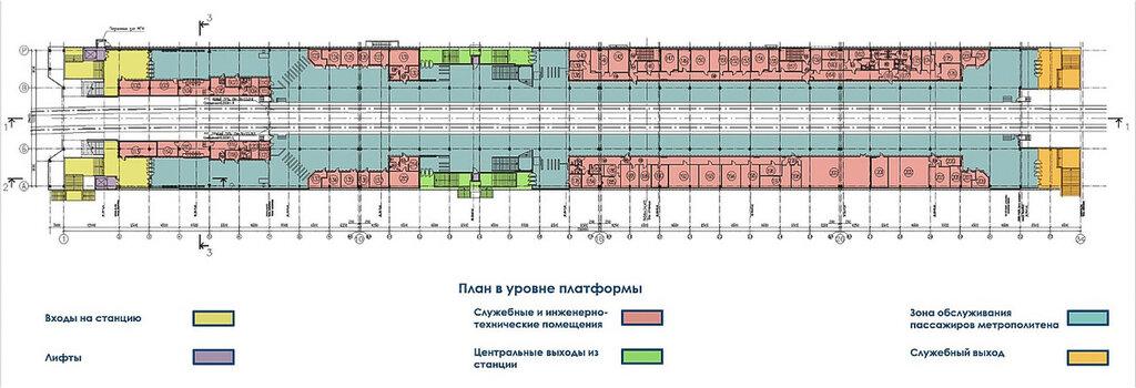 План станции в уровне платформы
