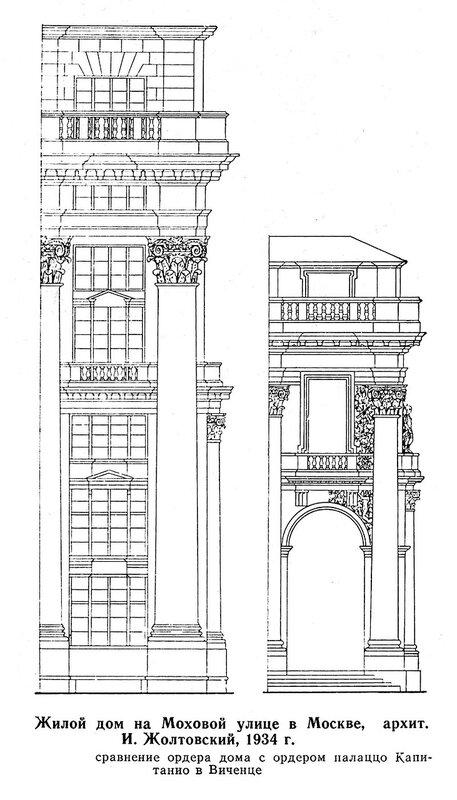Дом на Моховой, сравнение ордера Жолтовского с ордером Палладио