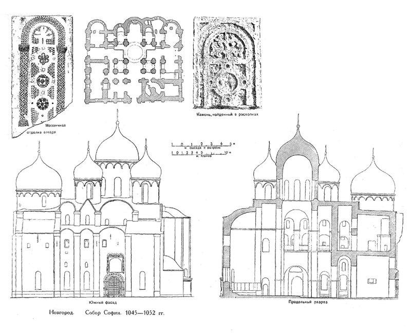 Софийский собор в Великом Новгороде, фасад и другие чертежи