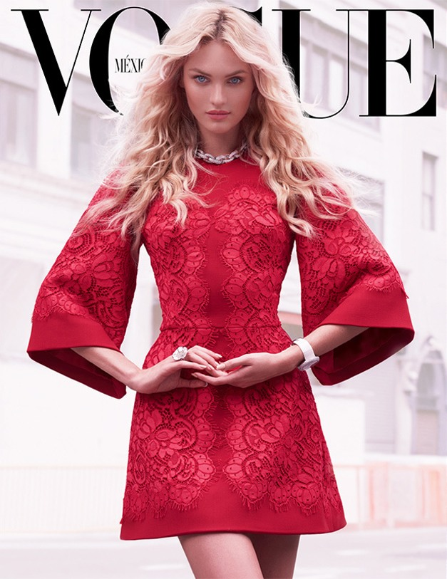 Candice Swanepoel / Кэндис Свейнпол в красном в журнале Vogue Mexico, сентябрь 2013 / фотограф Mariano Vivanco