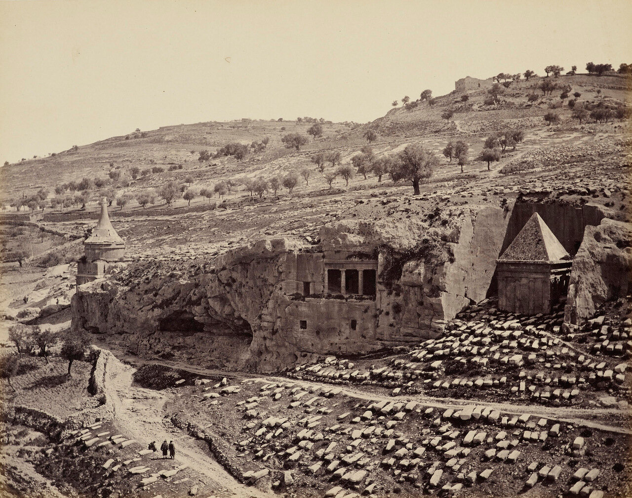 2 апреля 1862. Вид долины Иосафата. Гробница Авессалома и гробница Захарии. Иерусалим