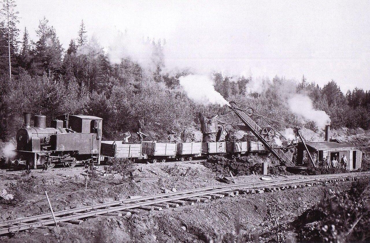 1925. Узкоколейный паровоз на строительстве линии Нижний Новгород — Котельнич