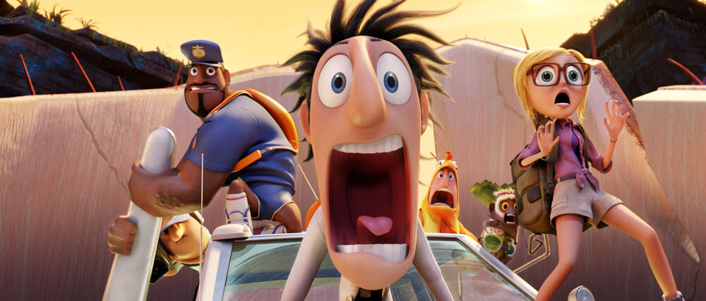Earl (Terry Crews), Flint (Bill Hader) and Sam (Anna Faris) in Sony Pictures Animation's CLOUDY WITH A CHANCE OF MEATBALLS 2.