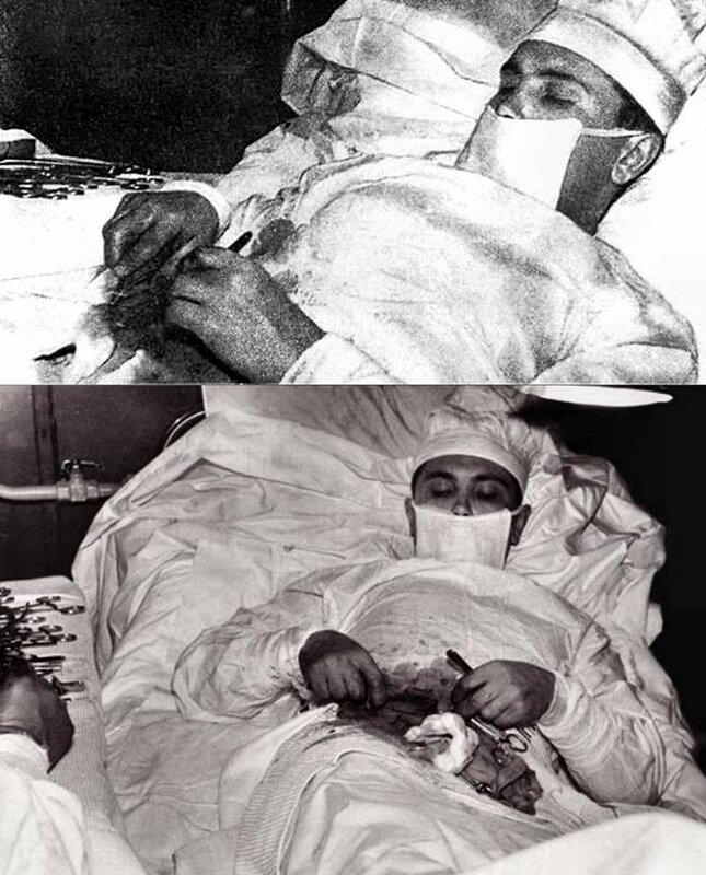 Leonid Rogozov removing his own appendix at a Soviet research station in Antarctica; ca. 1961.jpg