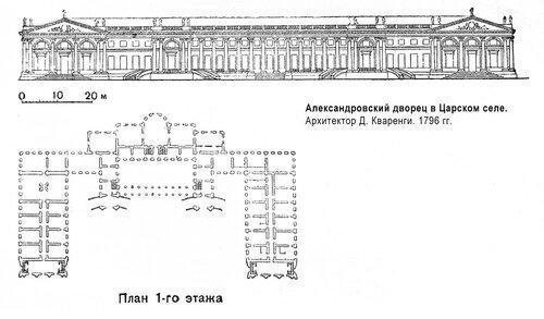 Александровский дворец в Царском селе, план и фасад