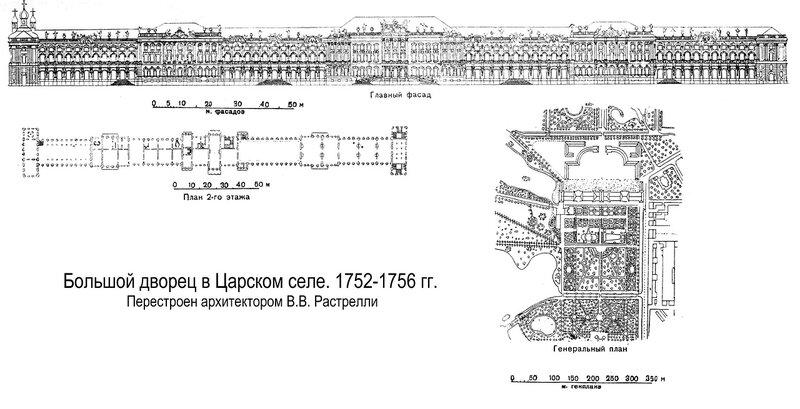 Большой Екатерининский дворец в Царском селе, чертежи