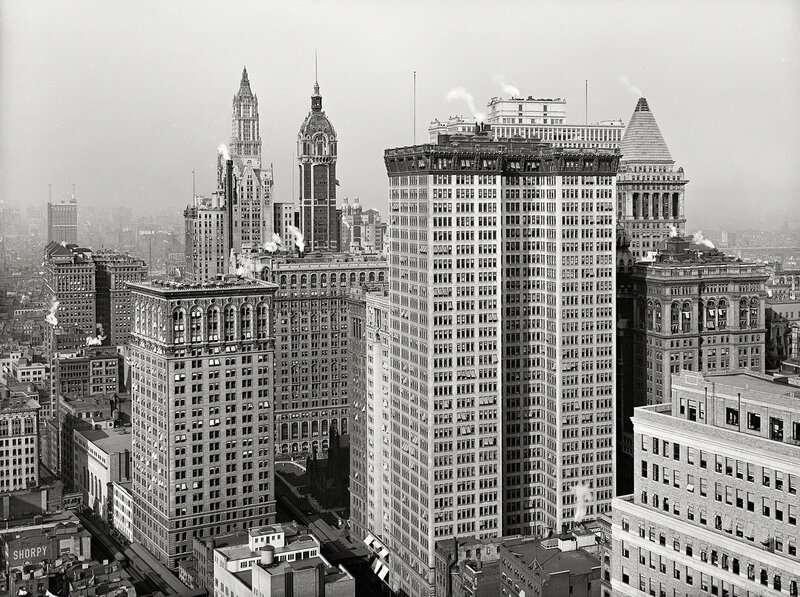 New York circa 1917. Skyscrapers, looking north toward towers of Woolworth and Singer buildings