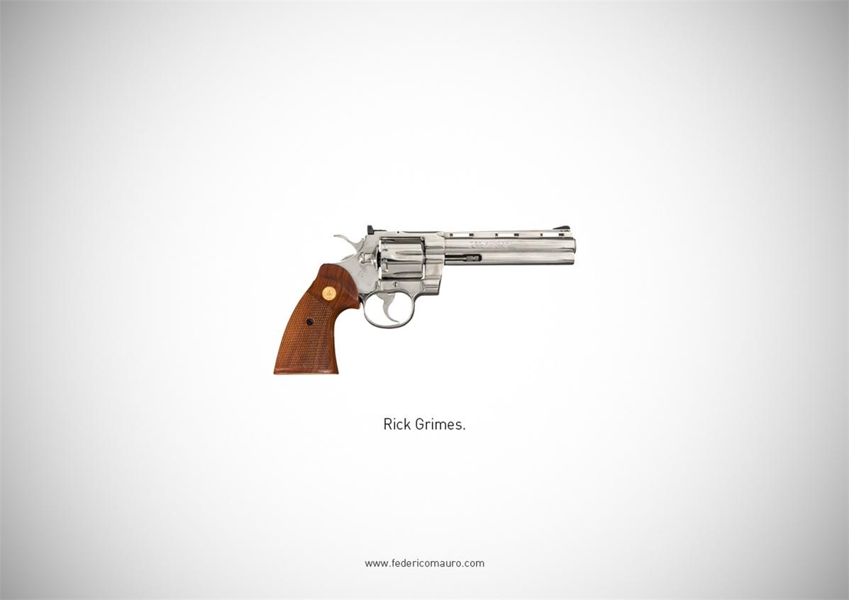 Знаменитые пушки - оружие культовых персонажей / Famous Guns by Federico Mauro - Rick Grimes (The Walking Dead)