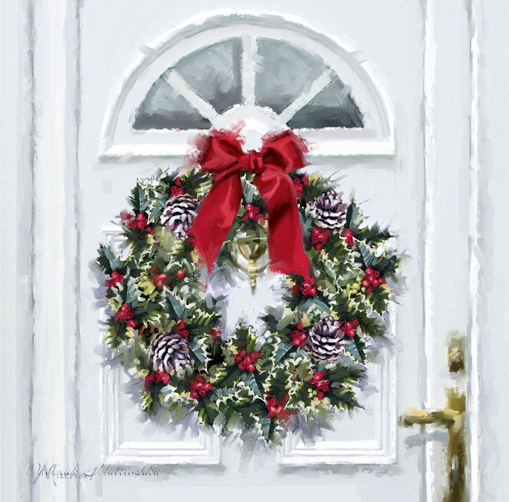 Дверь рождество картинка