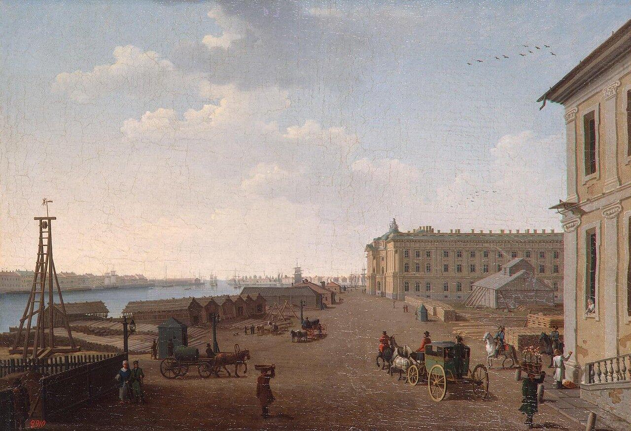 Вид набережной Васильевского острова у Академии Художеств в Петербурге
