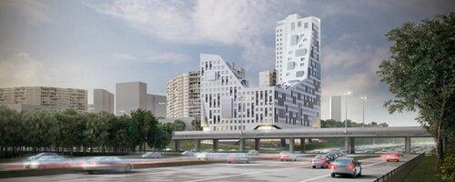 Необычное здание с ломанными формами в Москве